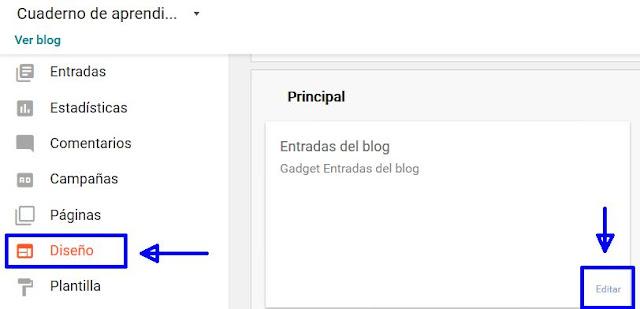 Diseño-Editar Entradas del Blog