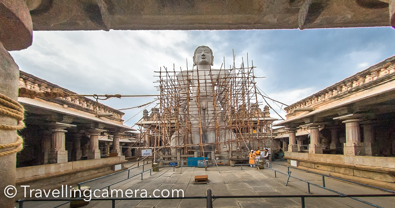Finally I could reach the temple and saw the huge idol (he statue of Gommattesvara Bahubali) in main temple. The main statue was under renovation and hence these wooden pillars all around the statue.