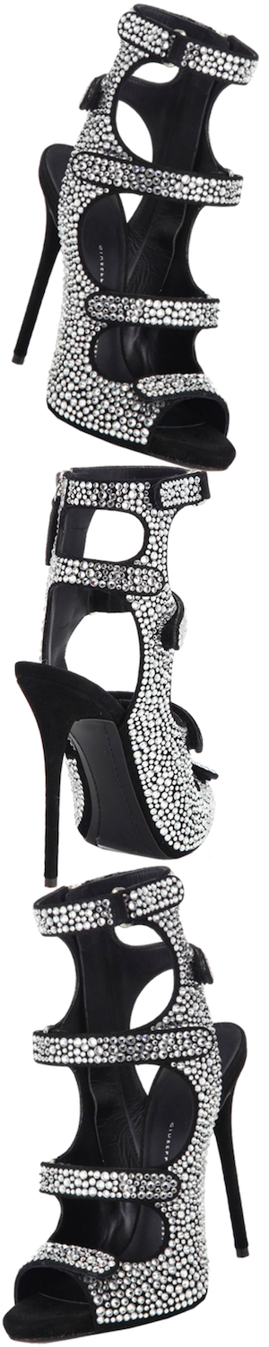 Giuseppe Zanotti Crystal-Covered Strappy Cage Sandals