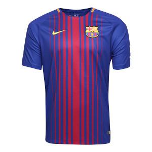 Camisa Barcelona Home 17/18 s/nº Torcedor Nike Masculina - Azul e Grená