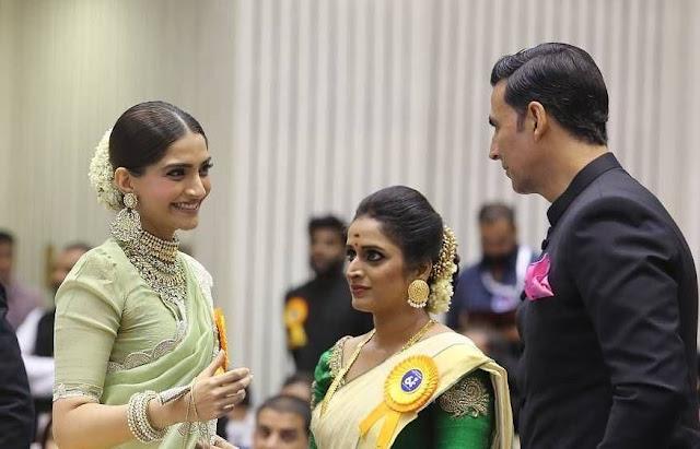 Surabhi Lakshmi with Sonam Kapoor at National Film Awards
