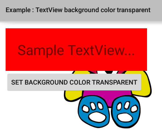 How to set TextView background color transparent programmatically in