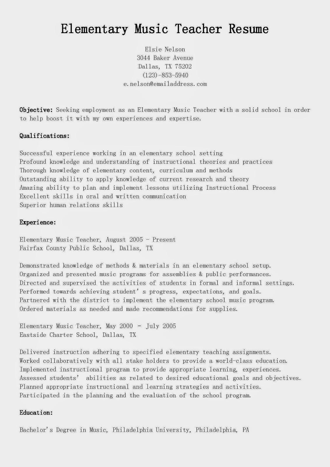 new teacher resume no experience  sample resume elementary    elementarymusicteacherresume sample resume for summer training for engineering students engineering student resume sample elementary music teacher resume