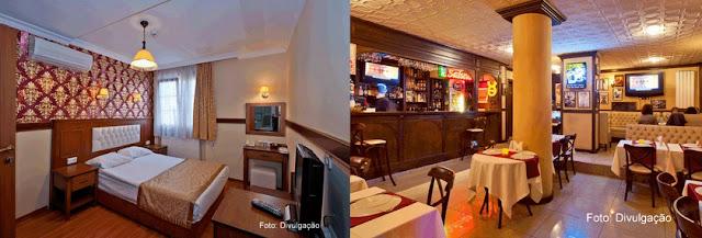 Apartamento e salão do café da manhã do Hotel Agan, em Sultanahmet, Istambul