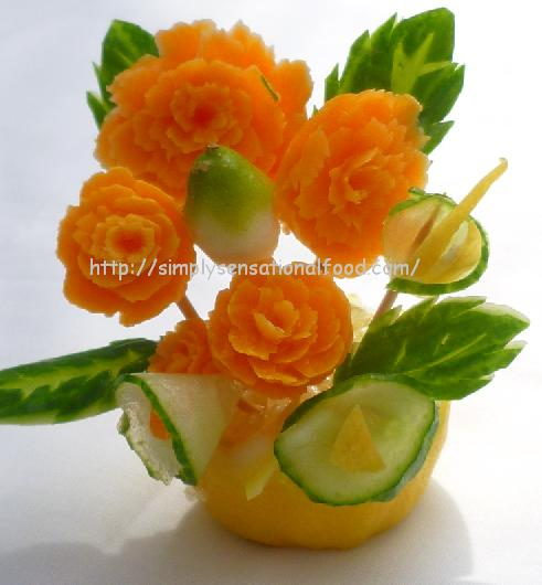 Carnation table decoration create n carve fruit and
