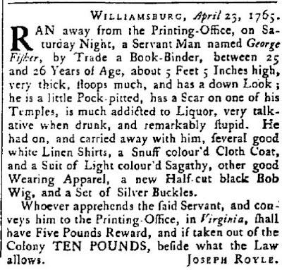 Runaway slave advertisement, April 23, 1765