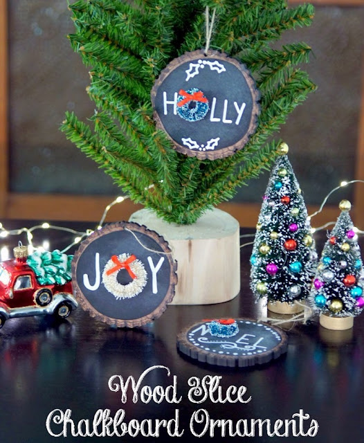wood slice chalkboard christmas ornaments