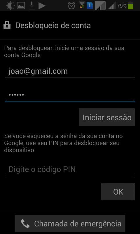 Desbloqueio do celular via conta do google