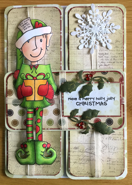 Green Elf Christmas Card