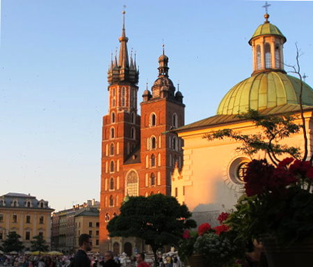Krakow Main Market Square Hejnalica Tower
