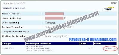 Payout ke-9 dari KlikAjaDeh.com ( Rp. 168.000 )