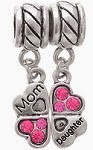 Image: Godagoda Antique Silver Color Clover Mom Daughter Dangle Beads Fits Charm Bracelet Pack of 2pcs
