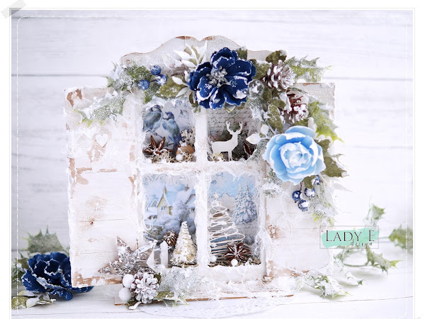Winter Window Shadowbox with Foamiran Flowers