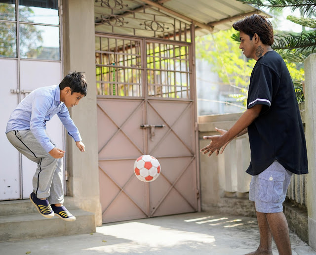 Sourajit Saha and Rick Playing Football 1