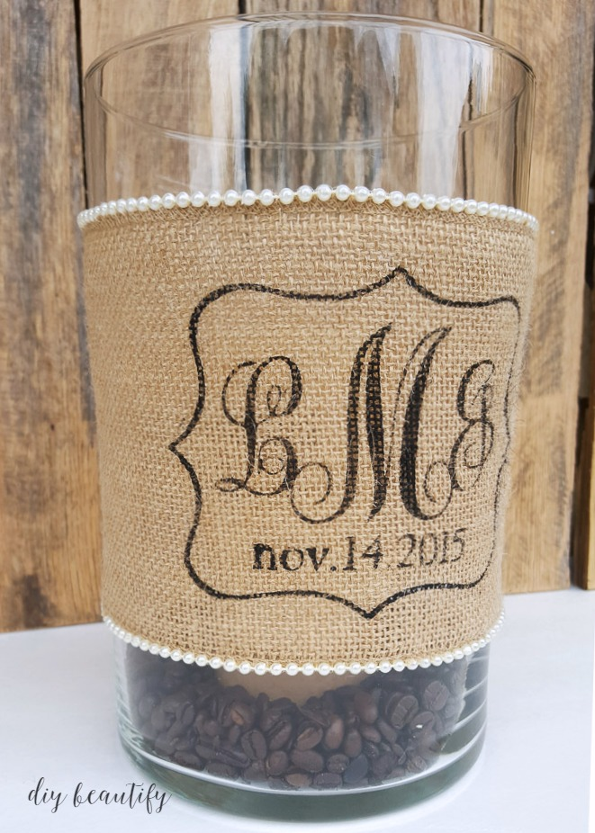 diy idea for custom wedding gifts candle holder with burlap