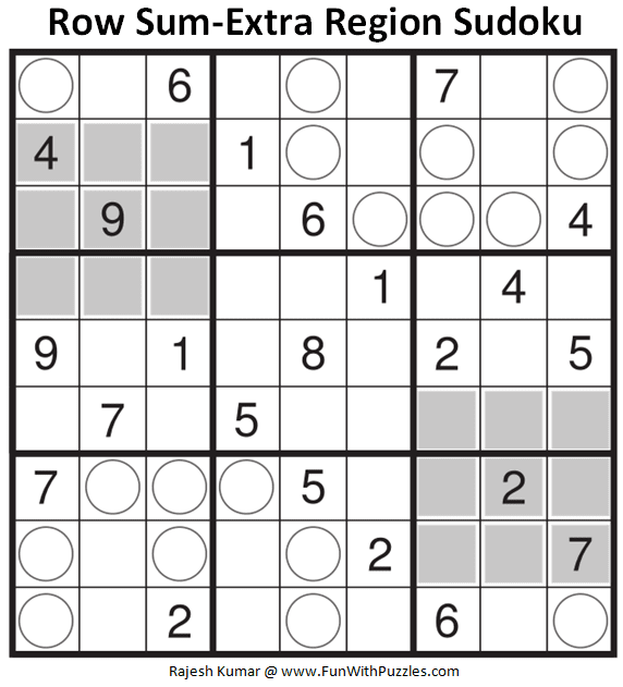 Row Sum-Extra Region Sudoku Puzzle (Daily Sudoku League #223)