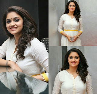 Keerthy Suresh in White Dress with Cute and Awesome Lovely Smile at Mahanati Success Meet