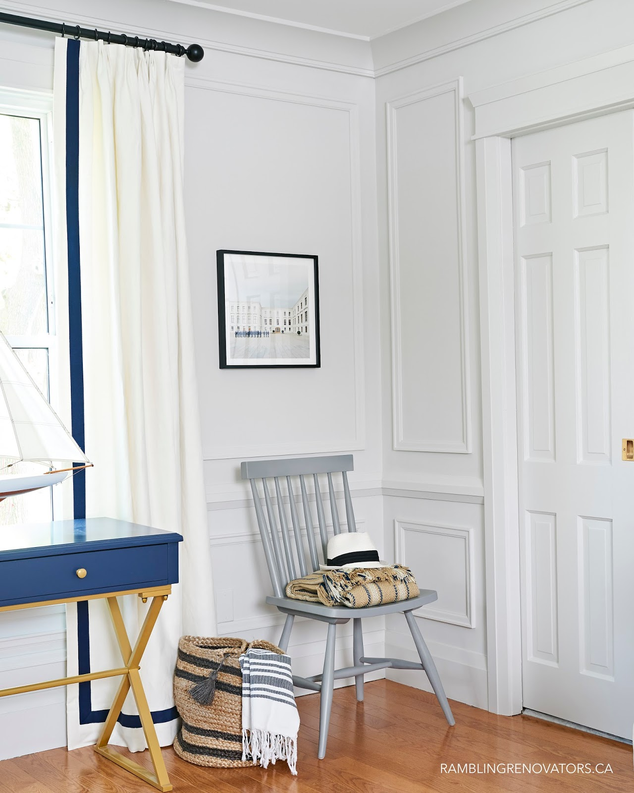 blue desk, painted moulding, spindle chair, chair vignette styling
