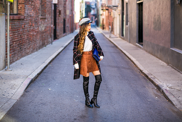 bb dakota HEWES COAT, GENIE BY EUGENIA KIM Jessa Bouclé Cap, faux suede skirt, rebecca minkoff over the knee boots, celine classic box bag, baublebar earrings, san francisco street style, fall fashion