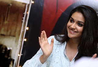 Keerthy Suresh in White Dress with Cute and Awesome Lovely Smile at Mahanati Promotions 7