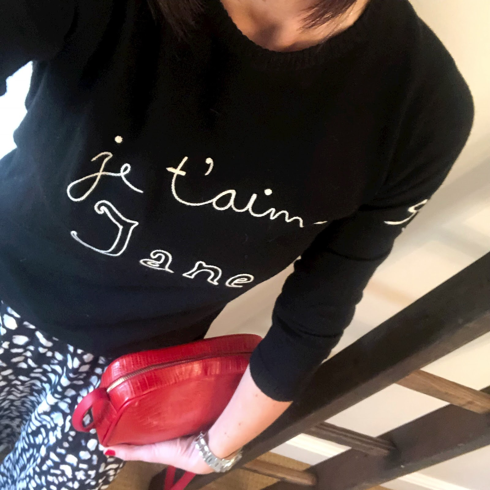 my midlife fashion, bella freud je t'aime jane merino wool sweater, religion maxi skirt in animal print, golden goose superstar low top leather trainers, uterque mock croc crossbody bag