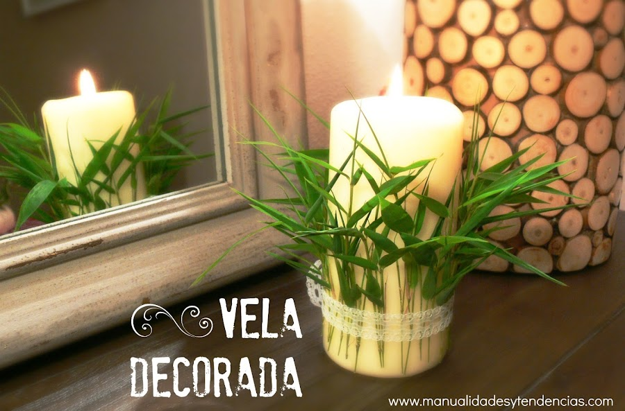 Home decor, vela decorada con hojas