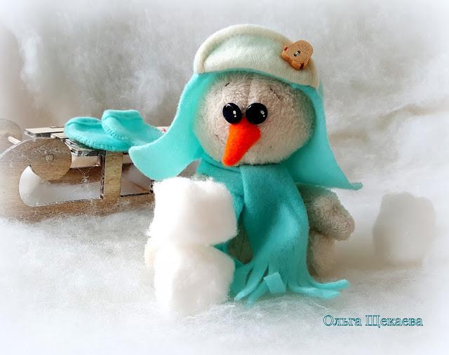 снеговик, ручной работы, текстильный, игрушка, новогодняя