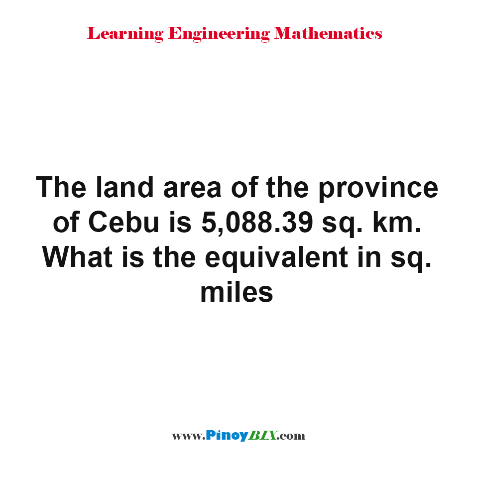 What is the equivalent of 5088.39 square km in square miles?