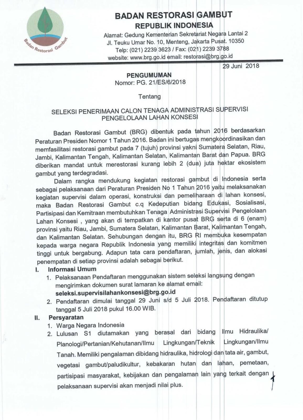 Rekrutmen Online Badan Restorasi Gambut Republik Indonesia