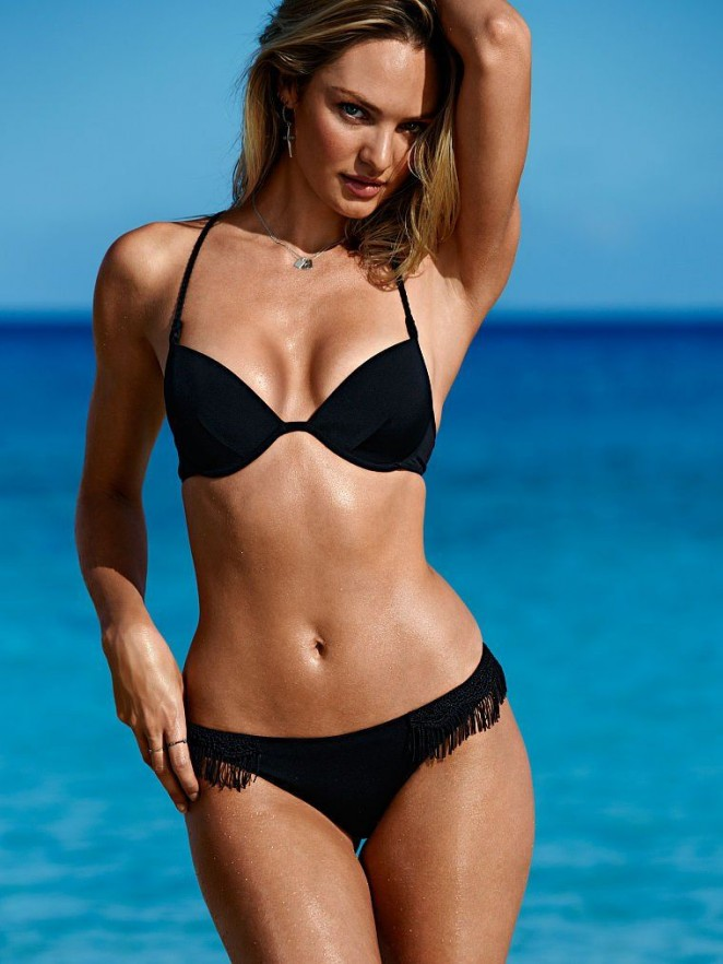 3239ad9b97ca6 Candice Swanepoel flaunts curves in bikinis for the Victoria's Secret July  2015 Lookbook