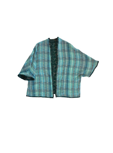 Ace & Jig Capella Cardi in Emerald/Sky - Sky Side - Webstore Exclusive
