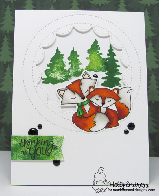 Thinking of You Card by Holly Endress   Fox Hollow and Whispering Pines stamp sets by Newotn's Nook Designs #newtonsnook