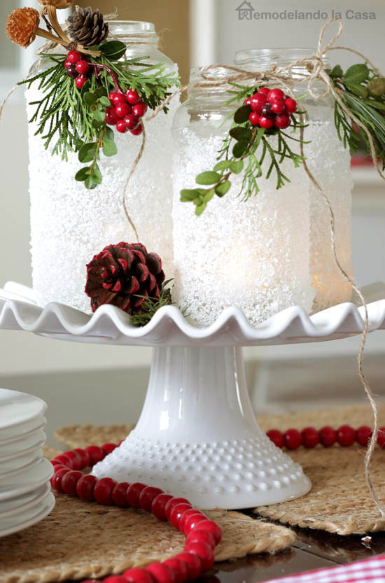 Christmas Tablescape With Little Tree Name Tags