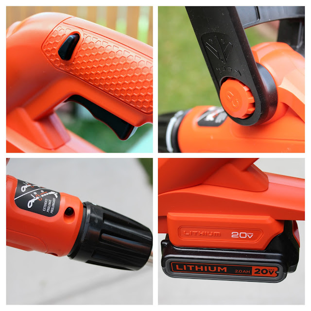 Black & Decker 3 in 1 Cordless Mower - A four picture collage of the adjustable auxiliary handle, 20V MAX* Lithium Ion Battery, Collar (to adjust height and edge) and Switch.