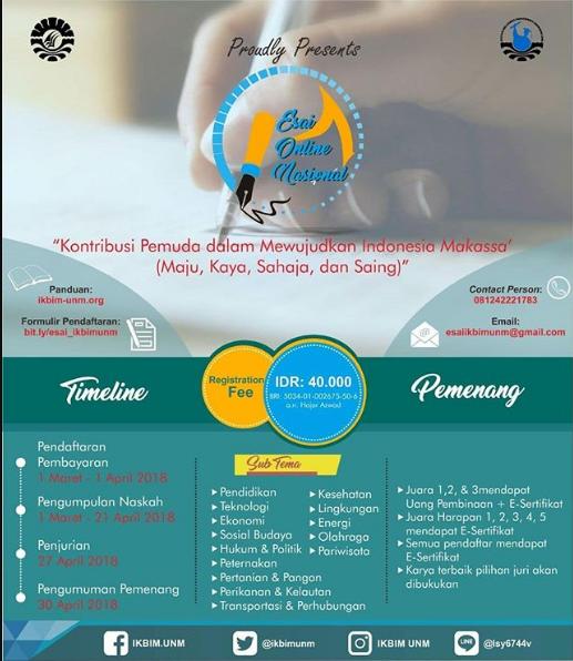 Lomba Esai Online Nasional 2018 Univ. Negeri Makassar
