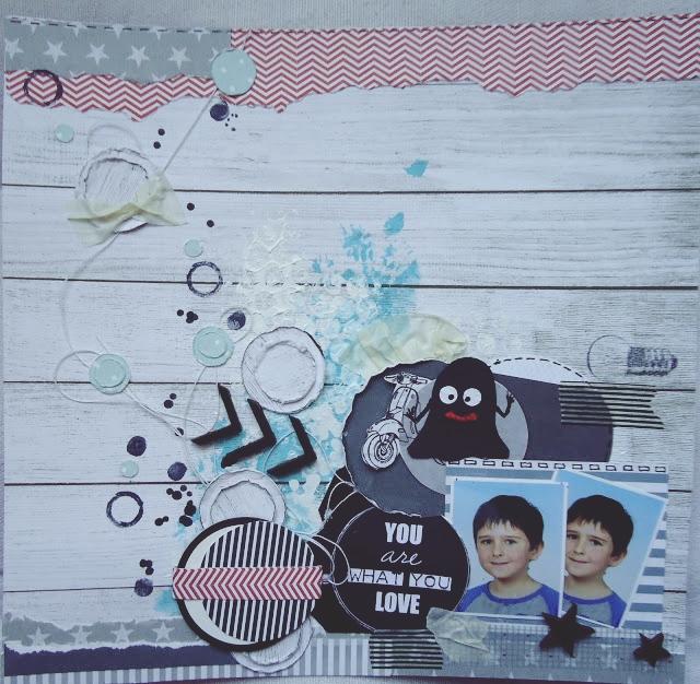 karta z albumu, album scrapbooking, layout z duszkiem