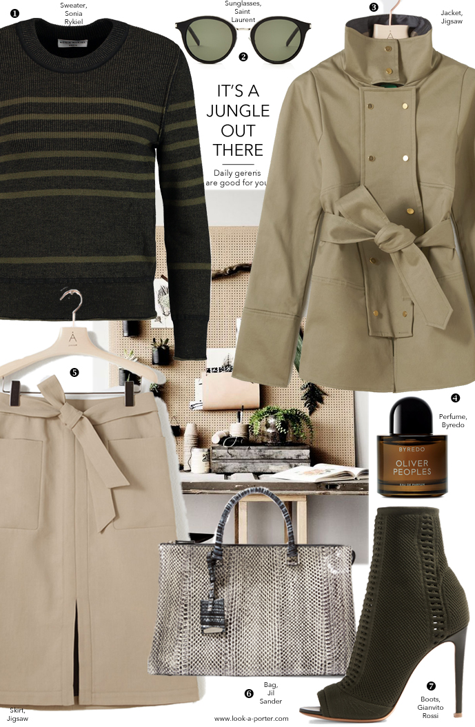 Styling olive greens & khaki, with a safari/military vive via www.look-a-porter.com style & fashion blog / Sonia Rykiel, Jigsaw, Gianvito Rossi, Jil Sander, Saint Laurent, Byredo