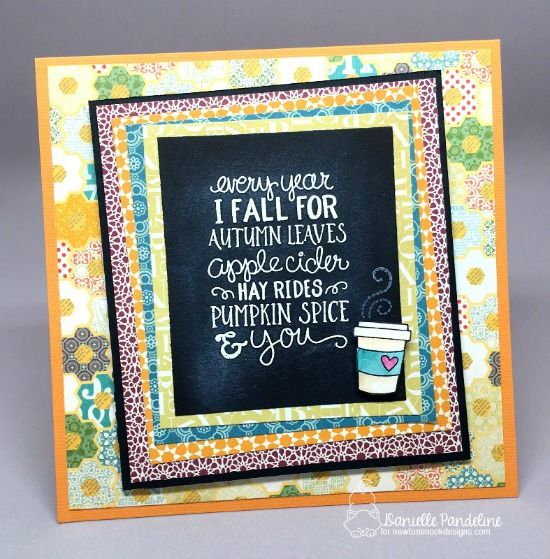 Fall chalkboard coffee card by Danielle Pandeline | Fall-ing For You Stamp set by Newton's Nook Designs #newtonsnook #pumpkinspice #coffee