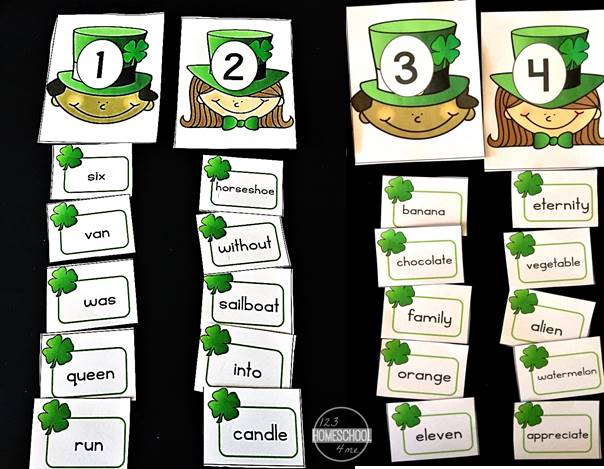 Syllable activity for st patricks day