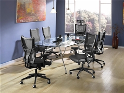 Glass Boardroom Table with Ergonomic Mesh Chairs