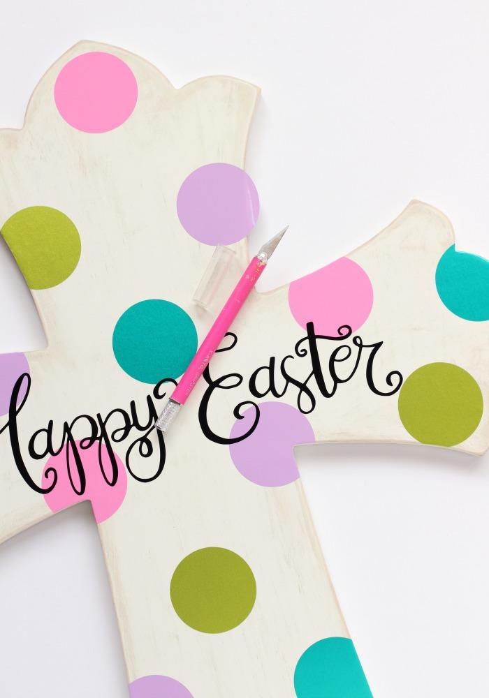 Happy Easter Cross Art | pitterandglink.com
