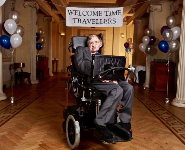 Stephen Hawkings holds a Time Travelers party. Time Travel. marchmatron.com