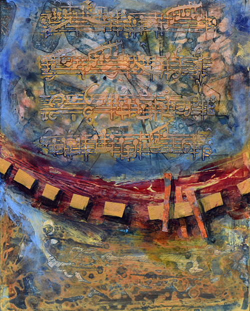 musical score, texture, collage, red and blue and gold