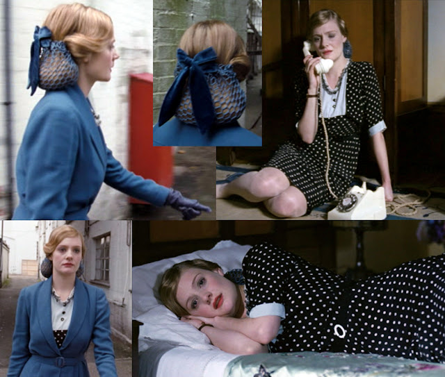 Glorious 39 fashions - Anne wears A blue suit jacket teamed this time with a black and white polka dot tea dress,