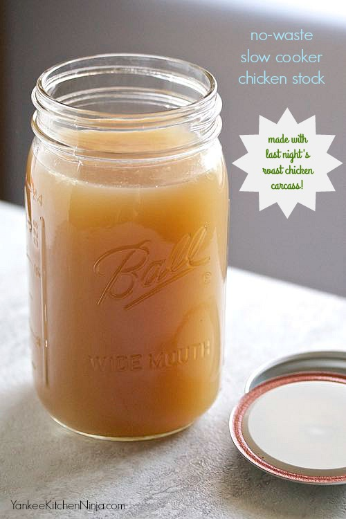 Slow cooker chicken stock made with a roast chicken carcass