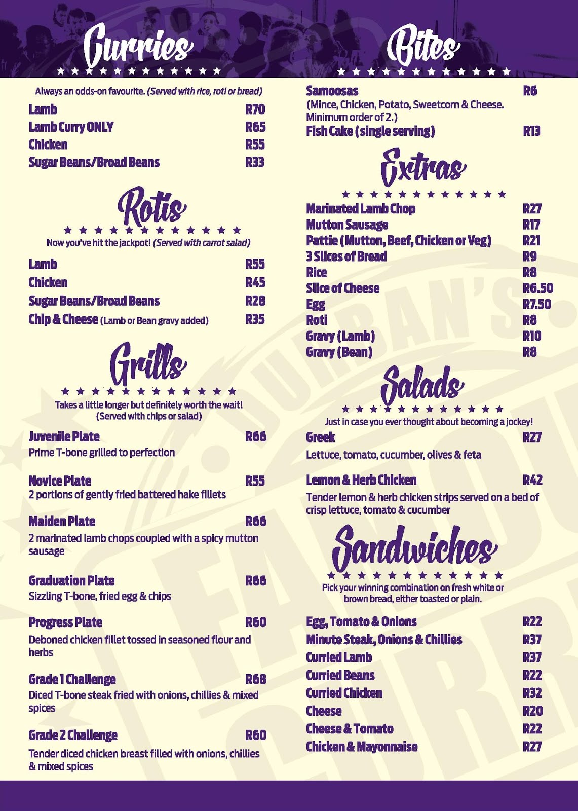 Hollywood Bunny Bar Menu - Page 2 - Curries - Rotis - Grills - Bites - Extras - Salads - Sandwiches