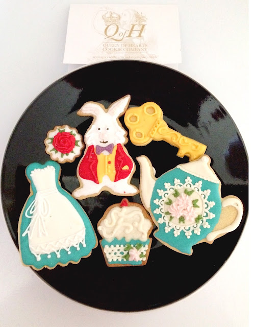 hand decorated Alice in Wonderland cookies