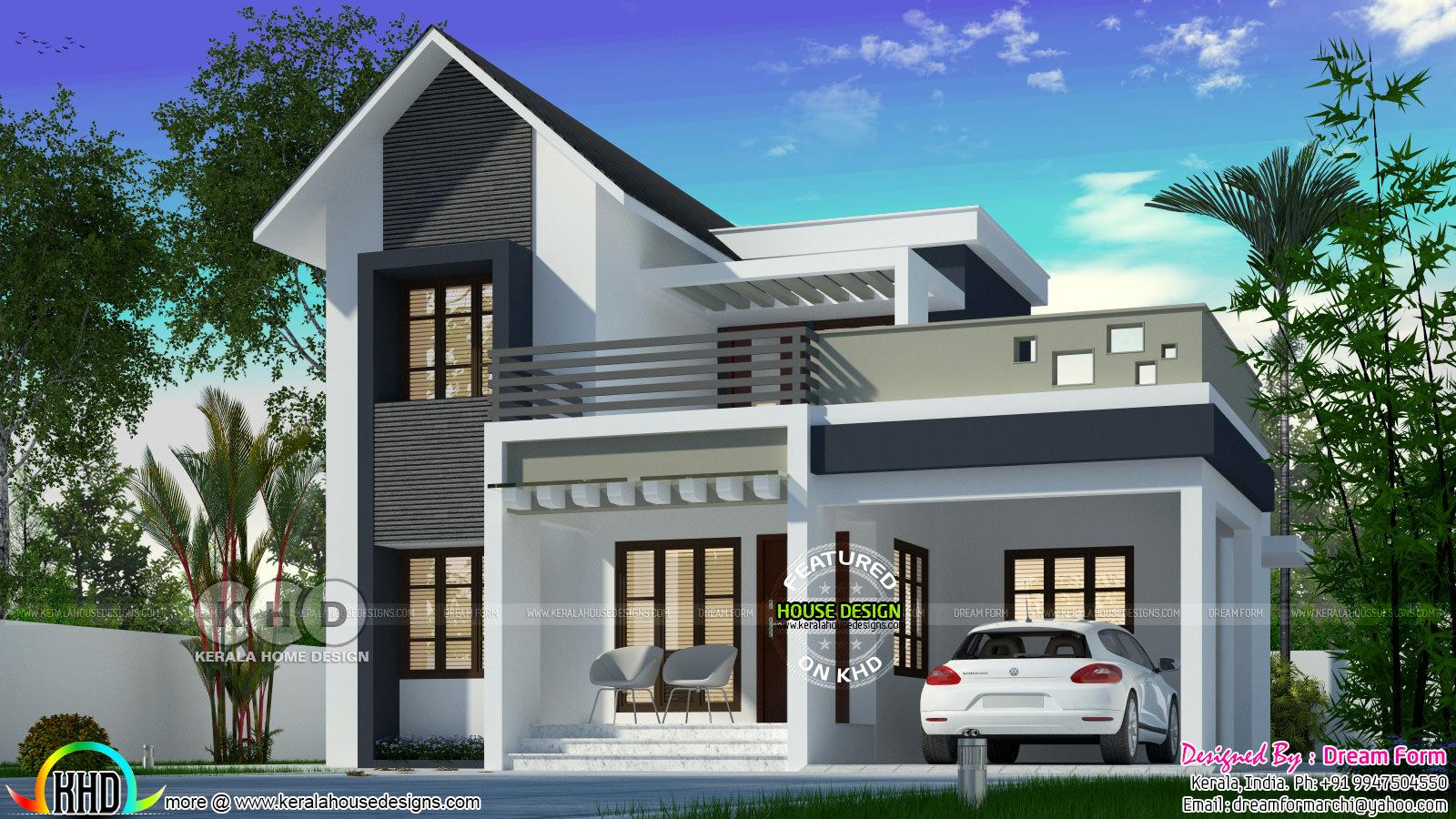 Cute 1630 Square Feet Mixed Roof Home Design Kerala Home Design