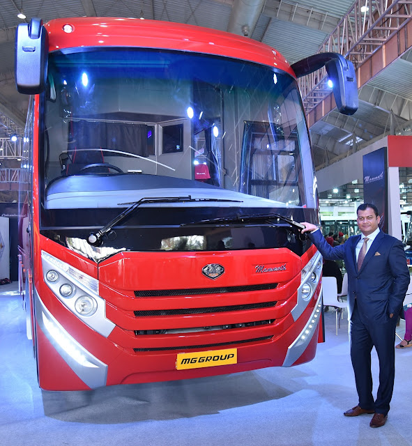 Mr. Anil Kamat, Managing Director, MG Group at the launch of Mammoth Premium Luxury Coach at the Bus World India 2016