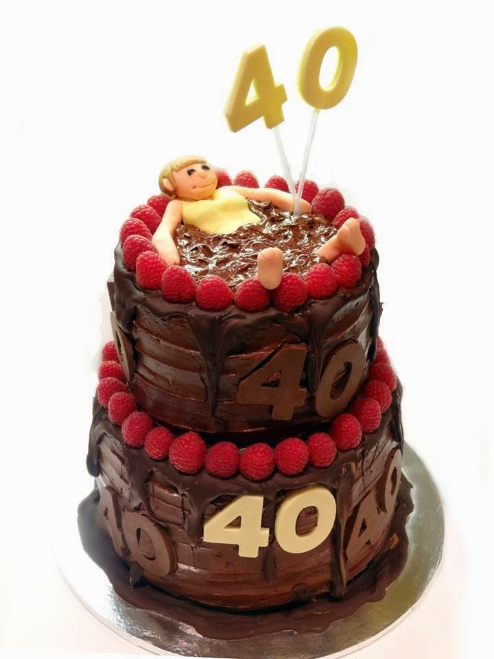 Salted Caramel Chocolate 40th Birthday Tiered Cake